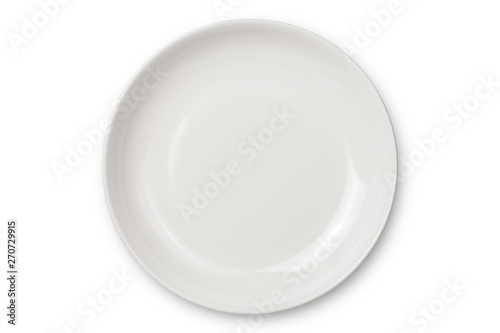Tela Empty ceramic round plate isolated on white background