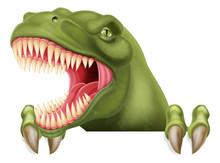 A Scary Dinosaur T Rex Cartoon Character Peeking Over A Sign