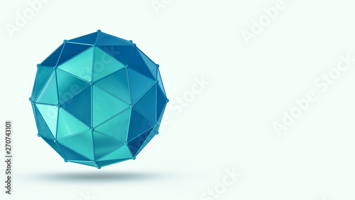 Fotografija  abstract geometric shape, copyspace, white background (3d render)