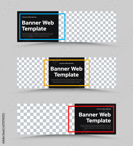 Pinturas sobre lienzo  Templates of vector black web banners of standard size with a place for a photo and a color frame for text