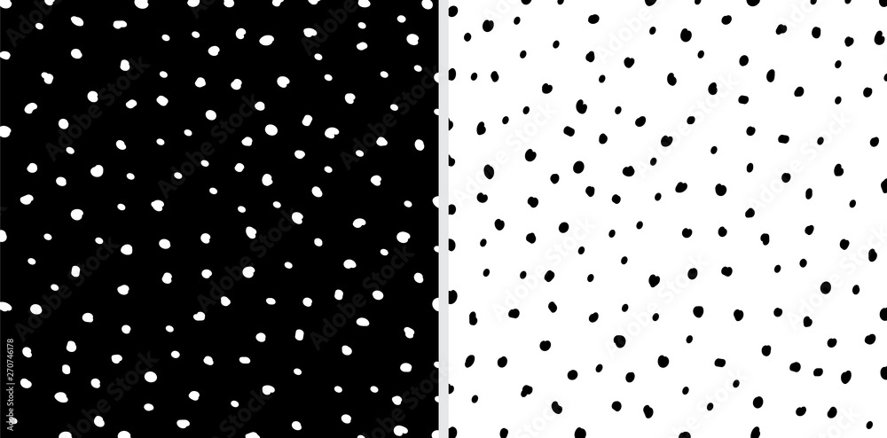Fototapety, obrazy: Set of Irregular black and white dots pattern background. Sketchy hand drawn graphic for fabric print, paper card, table cloth, fashion.