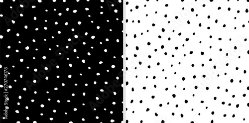 Set of Irregular black and white dots pattern background. Sketchy hand drawn graphic for fabric print, paper card, table cloth, fashion.