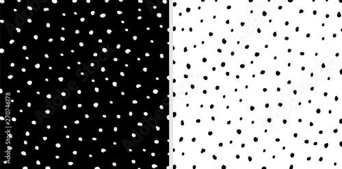 Fotografie, Obraz  Set of Irregular black and white dots pattern background