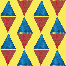 Diamond Shaped Blue And Red Watercolor Triangles. Abstract Geometric Vector Seamless Pattern On Bright Yellow Background. Great For Wellness, Kids, Beach, Food Products, Summer, Packaging, Stationery