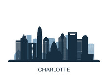 Charlotte Skyline, Monochrome Silhouette. Vector Illustration.