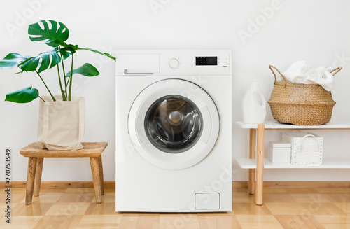 Pinturas sobre lienzo  Clothes washing machine in laundry room interior