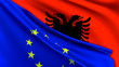 canvas print picture - Albania and European Union Relations Concept - Merged Flags of Albania and the EU 3D Illustration