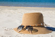 hat and sunglasses in the landscape of the beach, holidays and summer