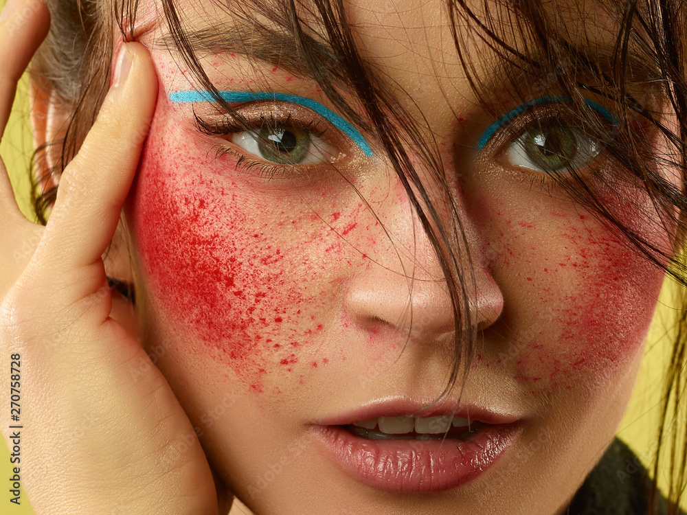 Fototapety, obrazy: Strawberry eyes. Beautiful female face with perfect skin and bright make up. Concept of natural beauty, skin care, treatment, health, cosmetic. A creative artistic stage act and signature character.