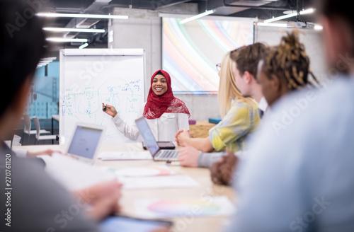Cuadros en Lienzo Muslim businesswoman giving presentations at office