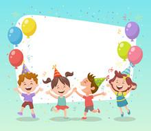 Happy Group Of Kids Celebratin...