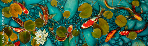 Photo  goldfish in the lake, oil painting, handmade
