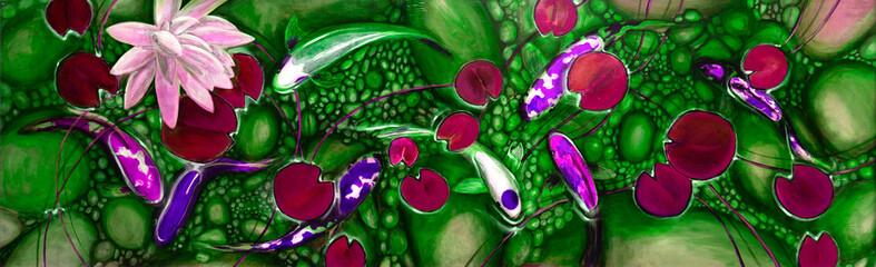 Fototapeta Do Spa goldfish in the lake, oil painting, handmade
