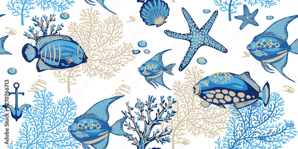 Fototapeta Sea seamless pattern with corals, starfishes and tropical fishes