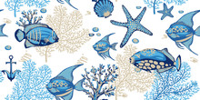 Sea Seamless Pattern With Corals, Starfishes And Tropical Fishes