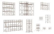 Realistic 3D Render Of Metal Scaffoldings Set