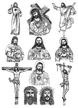 Hand Drawn Jesus Christ Vector Design Collection