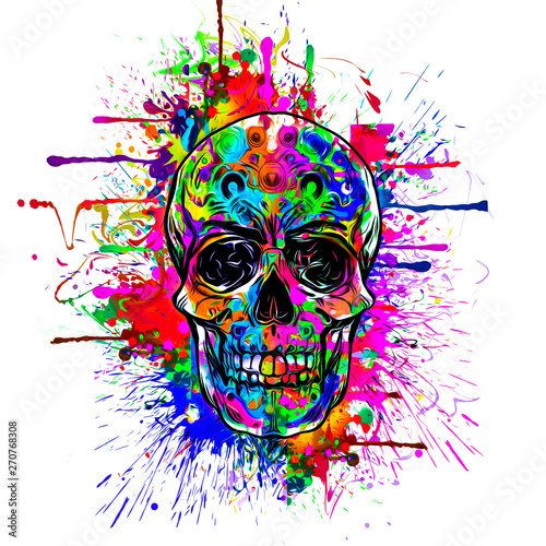 Abstract and colorful image of skull