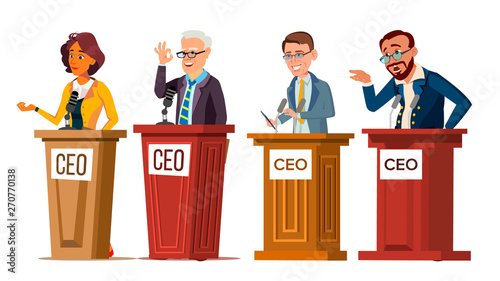 Character Ceo Talking From Tribune Set Vector Canvas Print