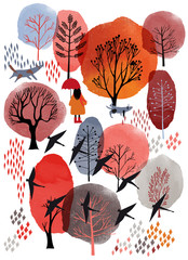 Panel Szklany Natura Autumn background. Watercolor and vector illustration