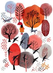 Fototapeta Natura Autumn background. Watercolor and vector illustration