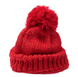 Leinwanddruck Bild - Red Knit Wool Hat with Pom Pom isolated on white background