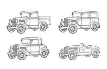 Retro Car Sedan, Coupe And Pic...