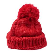 Red Knit Wool Hat With Pom Pom...