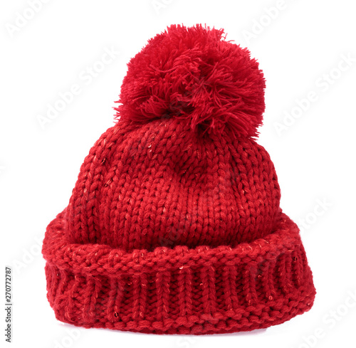Fotografia  Red Knit Wool Hat with Pom Pom isolated on white background