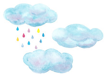 Watercolor Hand Drawn Sky Set With  Blue Clouds And Colorful Raindrops Isolated On White Background
