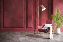 Modern Vintage Living Room Interior,red Armchair With Red Grunge  Wall And Concrete Floor,3d Rendering