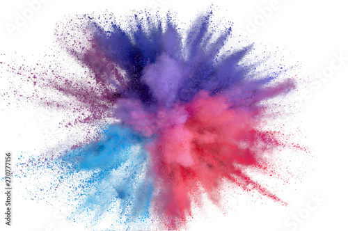Poster Fumee Colored powder explosion. Abstract closeup dust on backdrop. Colorful explode. Paint holi