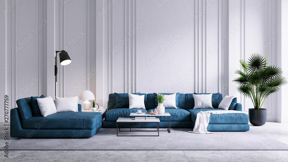 Modern vintage living room interior, blue sofa with white ...