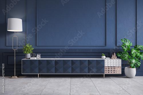 Modern Interior Of Living Room Blue Tv Cabinet On Dark Blue Wall 3d Rendering Ilustración De Stock Adobe Stock