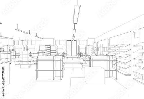 shop, store, contour visualization, 3D illustration, sketch, outline