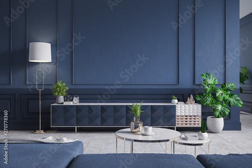 Modern Interior Of Living Room Blue Tv Cabinet With Sofa Dark Blue Wall And Concrete Gray Tile Floor 3d Rendering Ilustración De Stock Adobe Stock