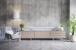 Leinwanddruck Bild - Loft interior design ,Wood Tv cabinet and gray chair on concrete wall with cement flooring , 3d render