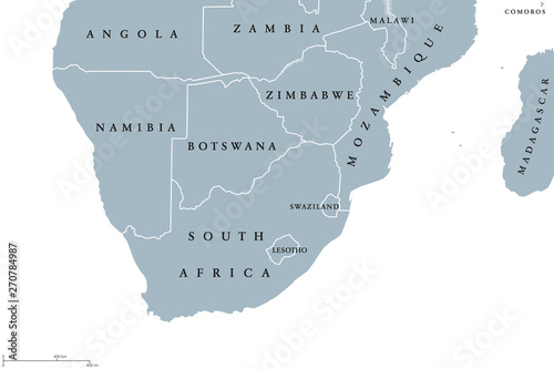 Southern Africa region political map. Southernmost region of ...