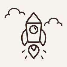 Blastoff Line Icon. Startup, R...