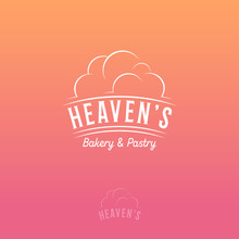 Heaven's Logo. Bakery And Pastry Emblem On Pink-orange Background. Letters With Cloud.