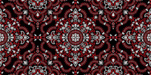 Vector Seamless Ornament Paisley, Skulls And Bones Bandana Print, Fabric Neck Scarf Or Kerchief Square Pattern Pirate Design Style For Print On Textile.