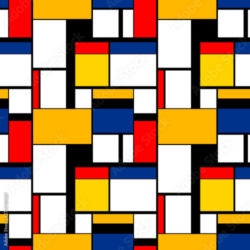 Photo  Colorful painting in Piet Mondrian's style, modern seamless pattern