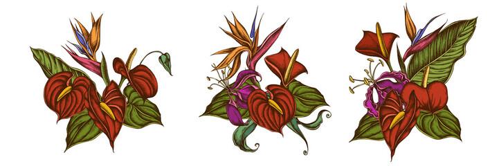 Flower bouquet of colored gloriosa, anthurium, strelitzia