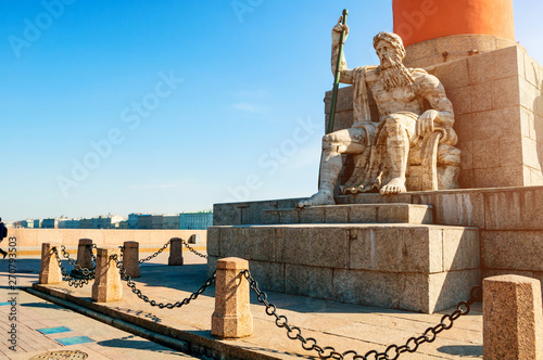 Valokuva  Allegorical figure of the Volkhov river at the rostral column and Palace embankm