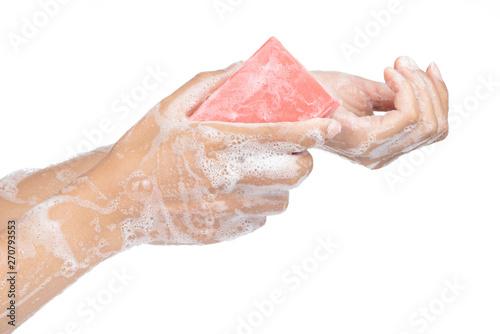 Valokuvatapetti Washing hand with soap isolated on white background