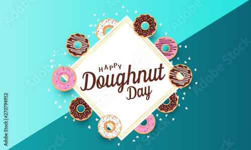 Fotografie, Tablou Doughnut day card or background. vector illustration.