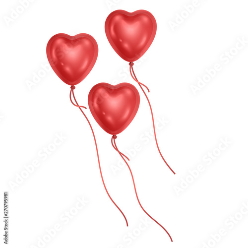 Set of red heart shaped balloons, balloons on white background, realistic vector Canvas Print