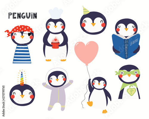 In de dag Illustraties Set of cute penguin illustrations, pirate, astronaut, superhero, unicorn, reading book. Isolated objects on white background. Hand drawn vector. Scandinavian style flat design. Concept children print.