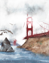 Golden Bridge San Francisco Landmark American Landscape Travel Destination Watercolor Painting