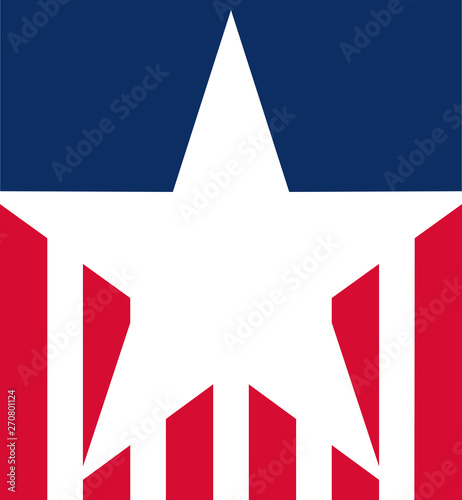 Fototapeta  Stylised USA flag icon, ideal for Fourth of July celebrations, graphics or other uses